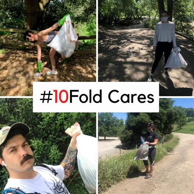 "A collage of four 10Fold Communications workers helping their communities with the text ""#10Fold Cares"" over the photos."