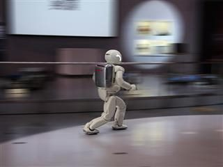 robot suit running away