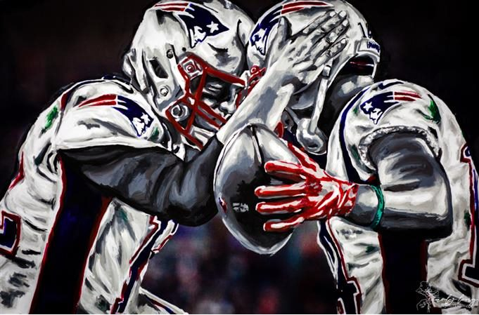 A painting by Carly Long of New England Patriots player Mohamed Sanu hugging a teammate.