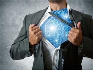 A superhero marketer pulling open his shirt to reveal an AI computer circuit chest - AI in marketing concept