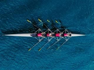 A coordinated rowing team, rowing across a lake