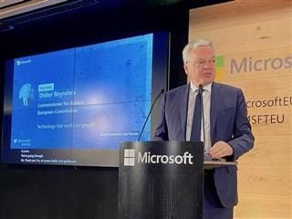 Didier Reynolds, EC Commissioner for Justice, speaking at Microsofts responsible AI event