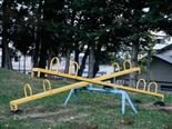 unused seesaws in a playground
