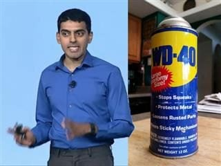 IBM Research fellow Vinith Misra with a can of WD-40
