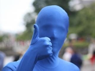 man in blue morphsuit