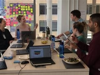 Members of the Capterra team at one of their gatherings that encourage innovation. Five people at a rectangular table.