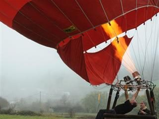 inflating a hot air balloon