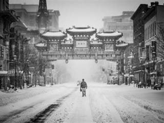 walking through the snow in Chinatown