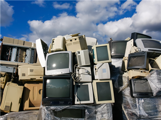 Junked crts computer monitors, tvs and old printers for recycling or safe disposal recycling -better technology deployments concept
