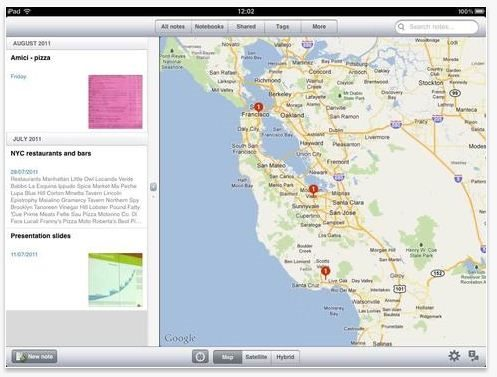 Evernote for iPad supports rich media and interfaces with mobile web apps such as Google Maps
