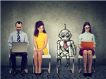 Cartoon robot/AI sitting in line with applicants for a job interview - artificial intelligence concept