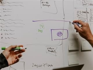 wireframing on a whiteboard