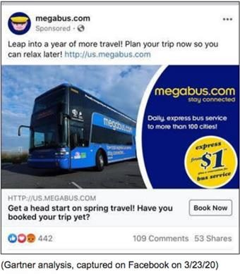 screenshot of a Megabus Facebook advertisement