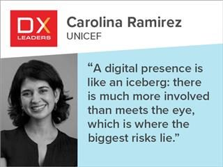 "DX Leader Carolina Ramirez quote ""A digital presence is like an iceberg: there is much more involved than meets the eye, which is where the biggest risks lie."""