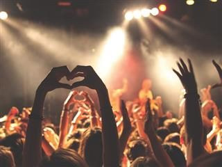 fan in concert crowd holding hands up in heart shape