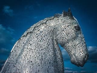 statue representation of the Kelpies mythical water horse