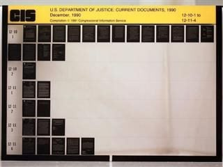 piece of microfiche from Department of Justice circa 1990
