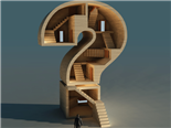 A question mark shaped building with an office worker standing in front - Business Question concept
