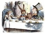Alice in wonderland at the tea party with the mad  hatter