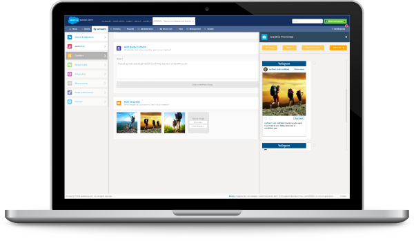 screenshot of the technology integration between salesforce marketing cloud and instagram