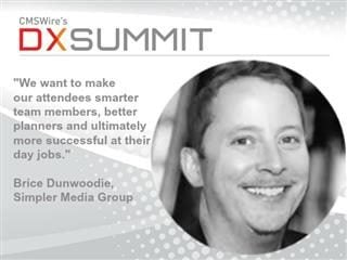 headshot of Brice Dunwoodie, ceo of simpler media group, inc. also text from a quote from dunwoodie and a dx summit logo