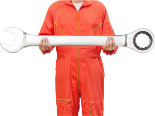 A mechanic in an orange jumpsuit holding a giant wrench.