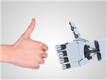 Robot and man hands showing a thumbs up gesture - AI concept