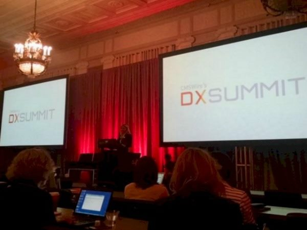 VP of Editorial for CMSWire Noreen Seebacher on stage at the DX Summit 2015