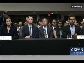 Facebook's Sheryl Sandberg and Twitter's Jack Dorsey testifying before Congress