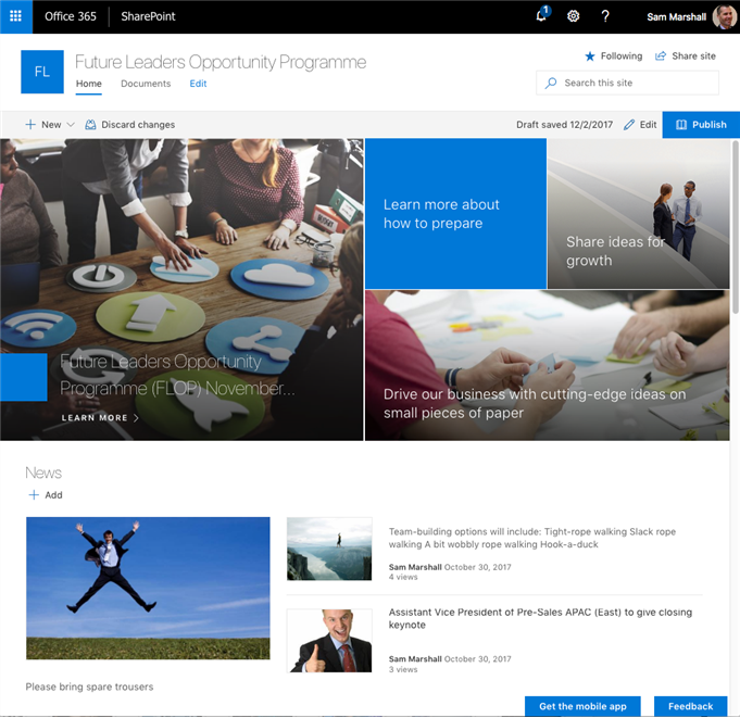 SharePoint communication sites make it easy to create attractive layouts.