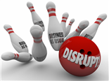 Bowling ball crashing through pins - Digital disruption over business as usual