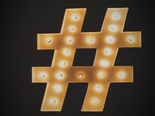 neon hashtag sign