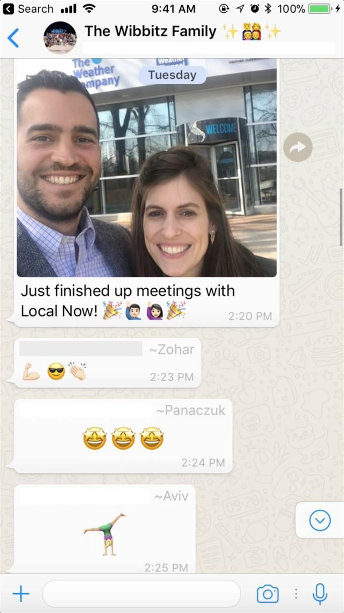 Screenshot of a WhatsApp exchange featuring a pic of two employees at Wibbitz.
