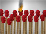 Matches shaped with red human heads - social media influencer concept