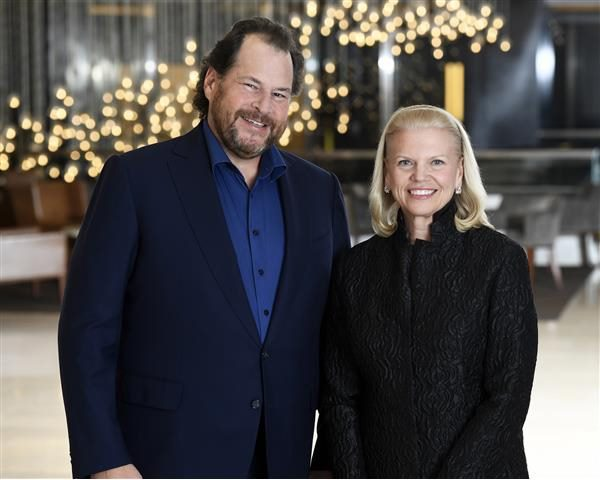Salesforce Chairman and CEO Marc Benioff with IBM Chairman, President and CEO Ginni Rometty