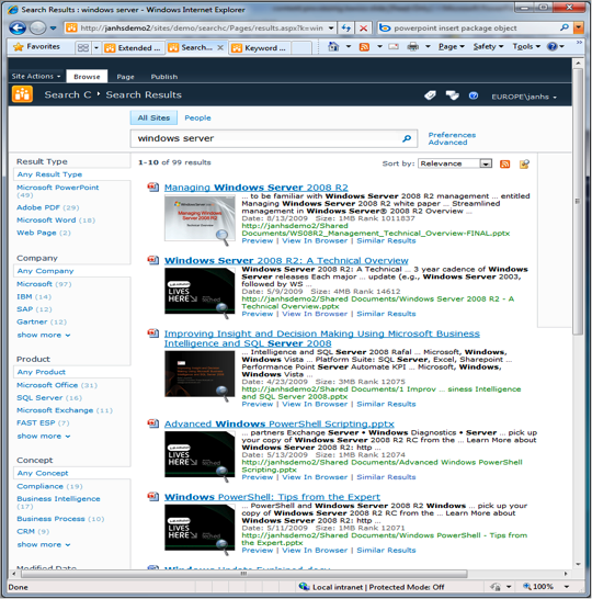 SP2010 search results interface.png