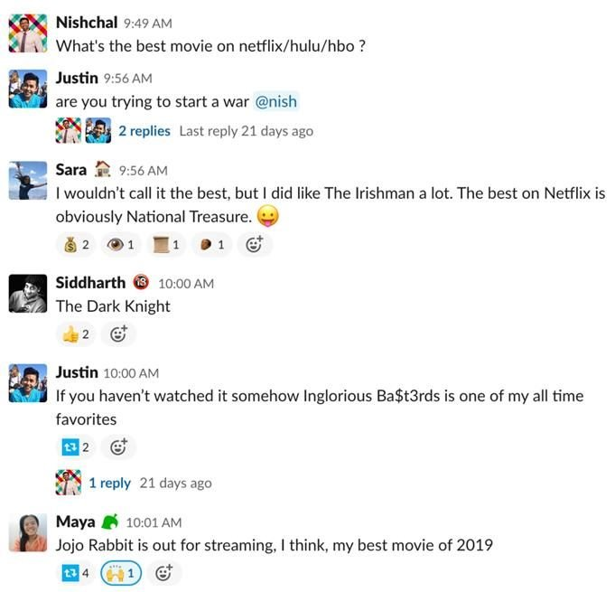 Screenshot of Rev's Slack channel about movies