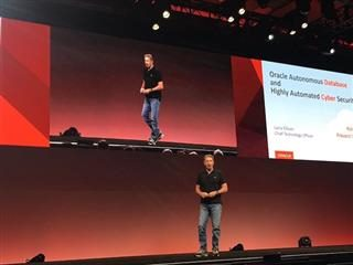 Larry Ellison on stage at Oracle Open World in San Francisco