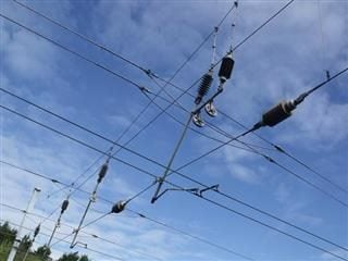 Live electrical wires overhead at Longbridge Station.