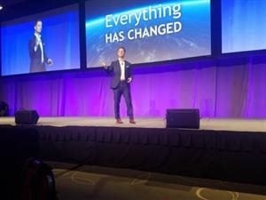 Marketo CEO Steve Lucas on stage at the MarTech conference in Boston Tuesday.