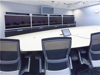 A video conference and telepresence business meeting room