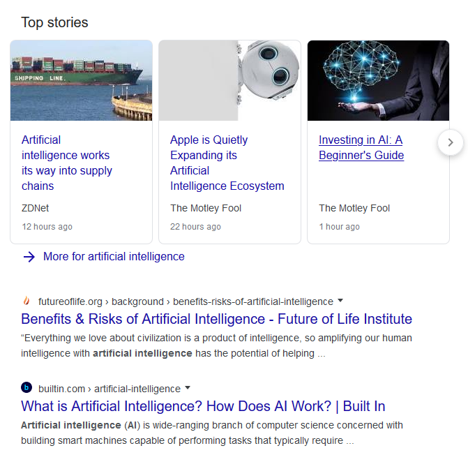 A Google search on the topic of artificial intelligence