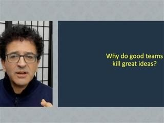 """Screenshot of Safi Bahcall during his keynote presentation at the Digital Workplace Experience virtual conference. A slide next to his headshot says, """"Why do good teams kill great ideas?"""""""