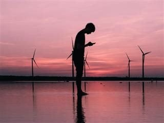 person looking down at their cell phone with wind turbines behind them