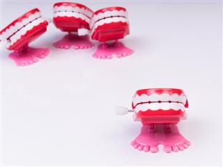 group of chatter teeth toys, with one in front of the others