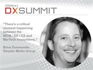 headshot of brice dunwoodie ceo of simpler media group, inc., wrapped inside a quote from dunwoodie about the DX Summit conference