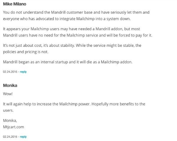 screenshot of customers commenting on mailchimp news on blog