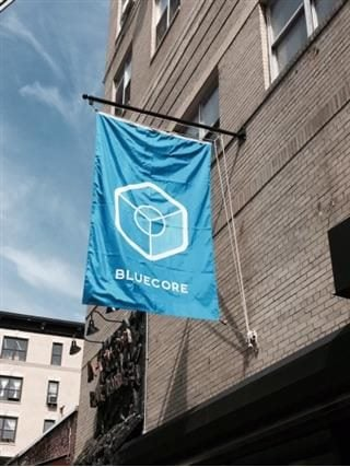 bluecore flag hanging outside office
