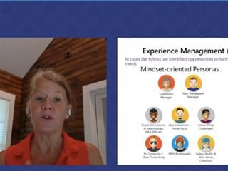 Screenshot of Karen Kocher of Microsoft during her keynote presentation at the Digital Workplace Experience 2021 summer conference.