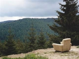 an empty lounge chair in the middle of the wilderness looking out at a forest